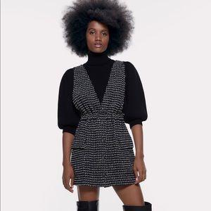 Zara textures weave pinafore dress